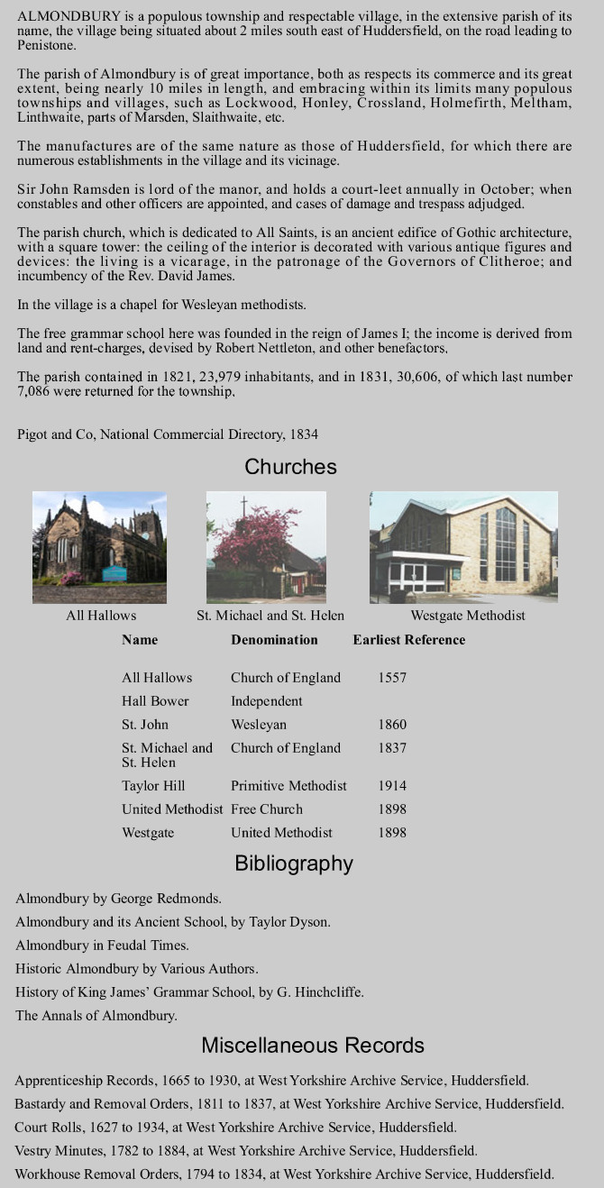 Almondbury fact sheet